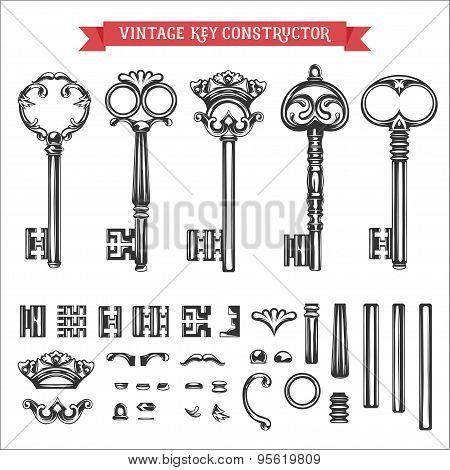 Vintage key constructor. Old keys vector set.