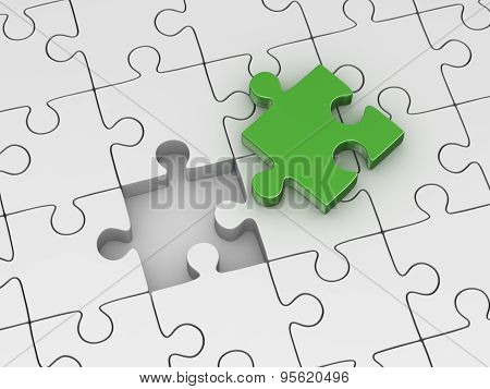 different puzzle piece , 3d computer generated image.
