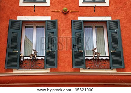 Old Red French Green Shutter Windows