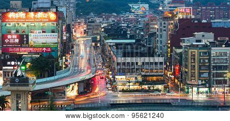 Aerial view of downtown in Keelung city, Taiwan
