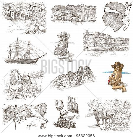 Corsica - An Hand Drawn Collection On White