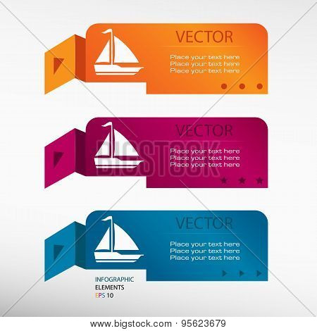 Sailboat Icon On Origami Paper Banners.