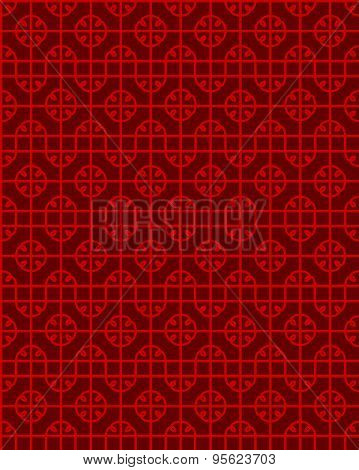 Seamless Vintage Chinese style window tracery spiral round pattern background.