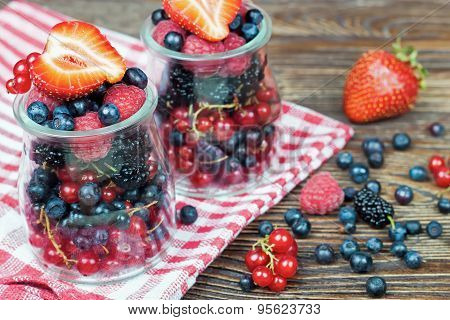 Mixed Berries In In A Glass Jar