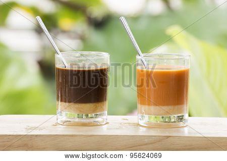 Glass Of Thai Tea And Coffee