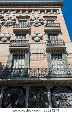 Barcelona, Spain - May 22, 2015: Casa Bruno Cuadros called Umbrella house al La Rambla street in Barcelona