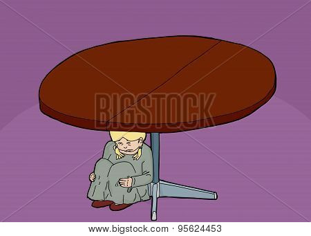 Scared Girl Under Table