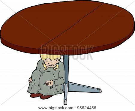 Cartoon Of Scared Girl Under Table