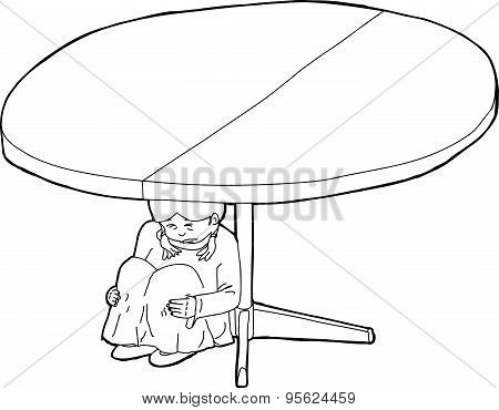 Outlined Weeping Child Under Table
