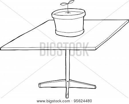 Outlined Houseplant On Square Table