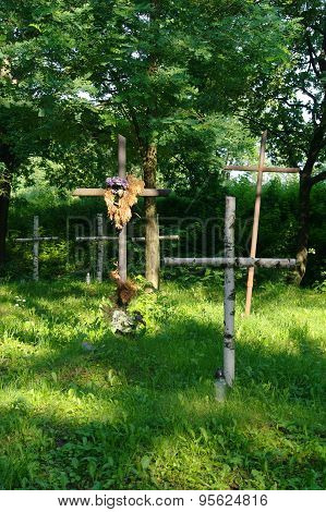 Wooden Crosses On Old Cemetery