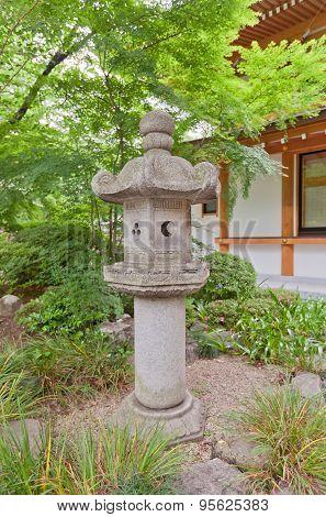 Stone Lantern In Zojo-ji Temple, Tokyo, Japan