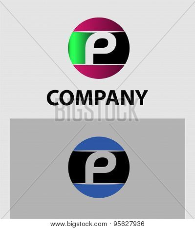 Letter P logo Icons Set Vector Graphic Design