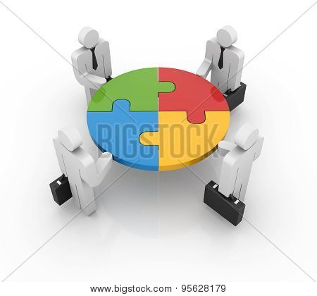 Businessman And Puzzle