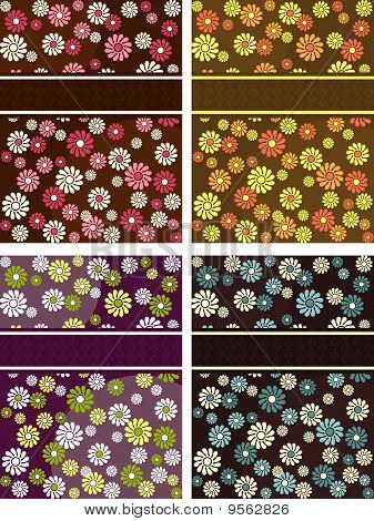Collection of vertical retro banners with flowers