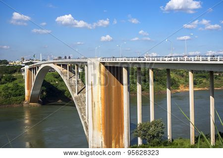 View Of Friendship Bridge (Ponte Da Amizade), Connecting Paraguay and Brazil