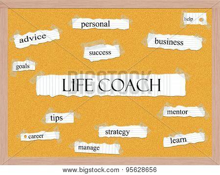 Life Coach Corkboard Word Concept