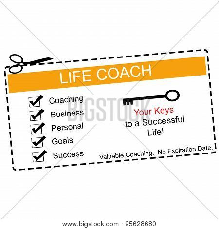 Life Coach Coupon Orange And White