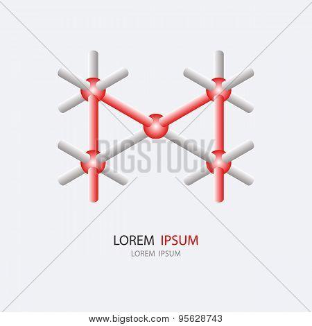 Letter M Logo Or Molecular Icon Design