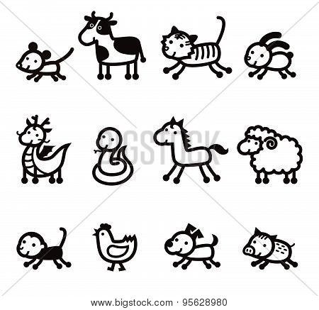 Twelve Chinese Zodiac Animals Icon