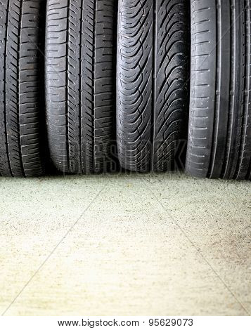 Four Car Tyres With Different Treads