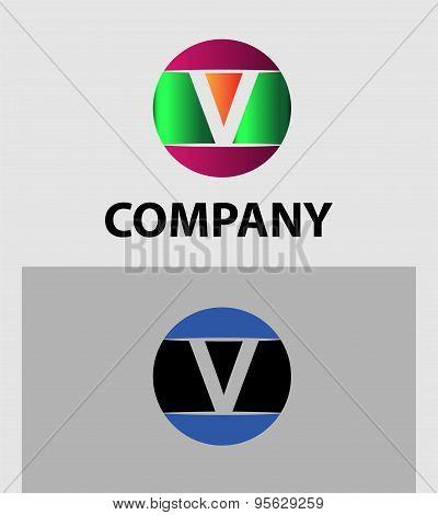 Set of two isolated stylish V symbol graphic elements V logo