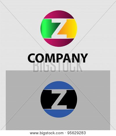 Set of two isolated stylish Z symbol graphic elements Z
