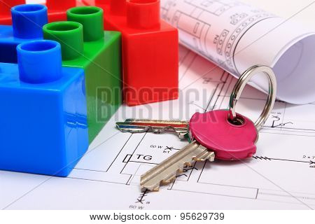 Colorful Building Blocks, Home Keys And Drawings