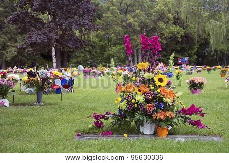 Cemetery with a large bouquet of flowers