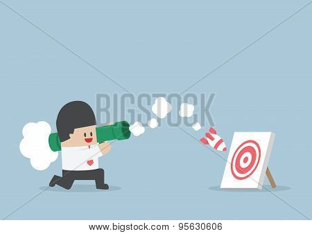 Businessman Use Bazooka Rocket Launcher Destroy The Target