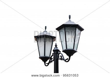 Street Lamp Post Isolated On White Background