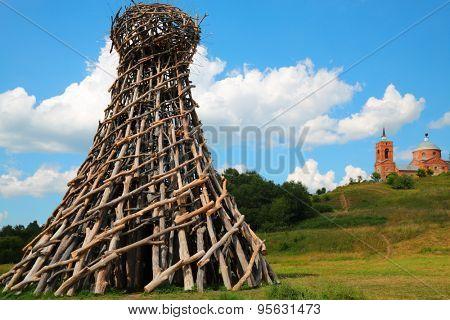 NICOLA - LENIVEC, RUSSIA - JUL 6, 2014: Tower Lighthouse on bank of river Ugra, Author: Nicholas Polissky 2004. Village of Nikola Lenivets, Kaluga region.
