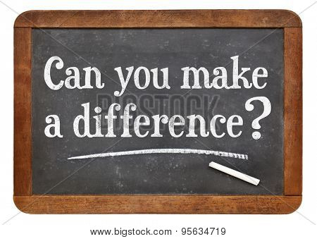 Can you make a difference question on a vintage slate blackboard
