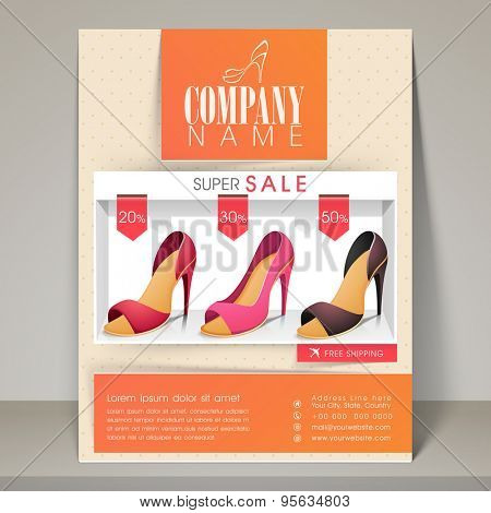 Woman's sandal sale flyer, banner or template with different discount offers.