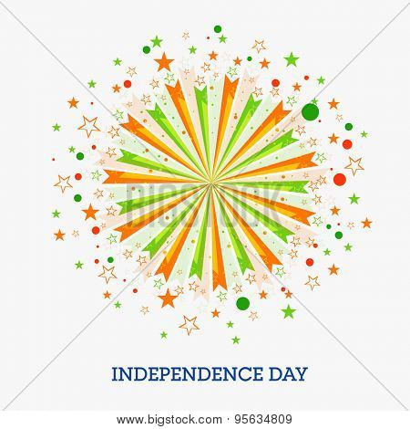 Beautiful greeting card design decorated with national tricolor firecracker for Indian Independence Day celebration.