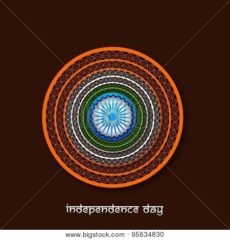Beautiful floral design decorated frame with Ashoka Wheel on brown background for Indian Independence Day celebration.