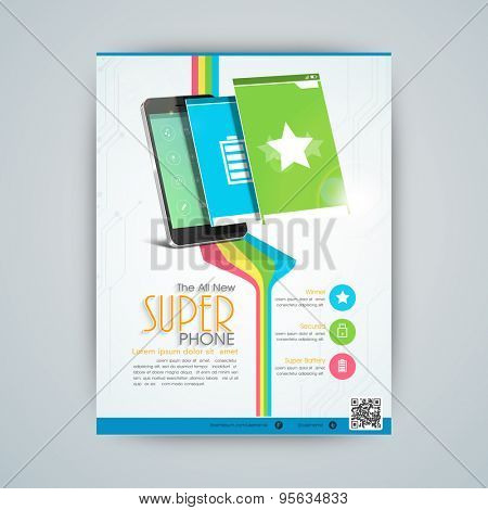 Stylish flyer, banner or template for mobile shop with smartphone and user interface layout presentation.