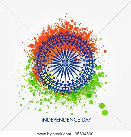 Beautiful floral design decorated Ashoka Wheel on saffron and green color splash background for Indian Independence Day celebration.