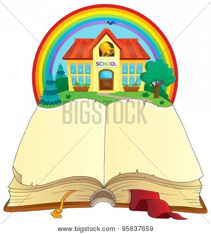 Open book and school building - eps10 vector illustration.