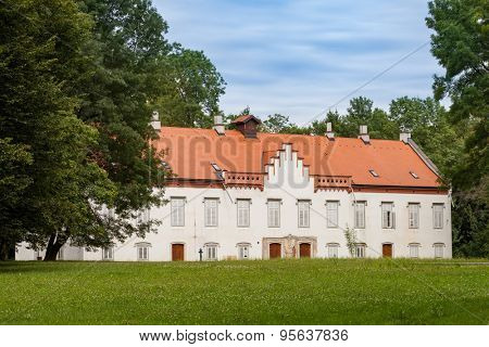 Novi Dvori Castle in Zapresic, Croatia built in the 16th century, home of Croatian historic figure viceroy Josip Jelacic