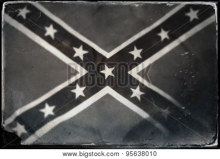 Instagram filtered image of Confederate Rebel flag black and white