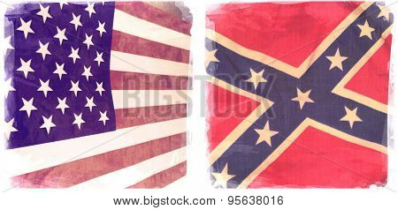 Instagram filtered image of an American and Confederate Rebel flag
