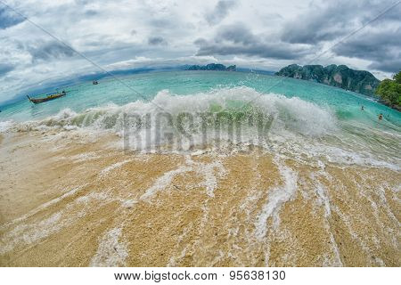 Stormy weather Sea Waves at Phi Phi Don White Beach