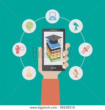 e-learning infographic Template. Concept online education. Smartphone surrounded by icons of education. The file is saved in the version 10 EPS.