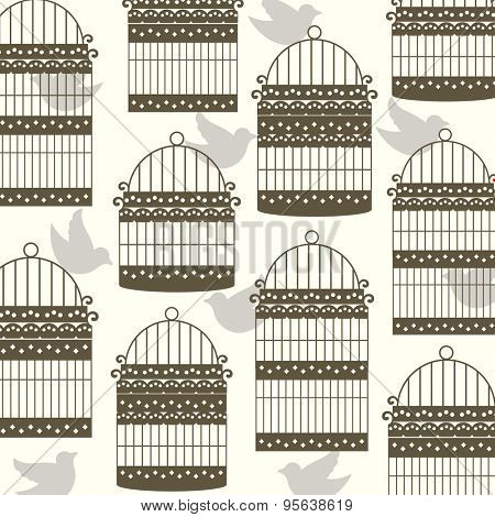 Birds with bird cages wallpaper