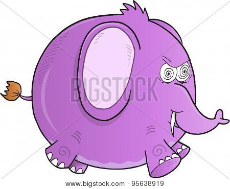 Crazy Purple Elephant Vector Illustration Art