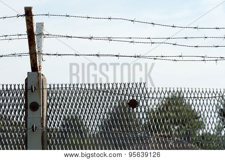 Fence With Barbed Wire At The Former Inner Border In Germany