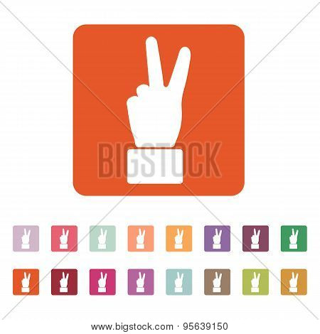 The Hand Showing Victory Gesture Icon. Victoty Symbol. Flat