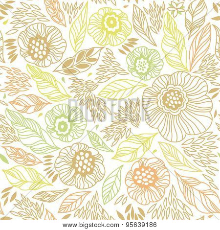 Decorative floral seamless background pattern in bright colors. Vector illustration