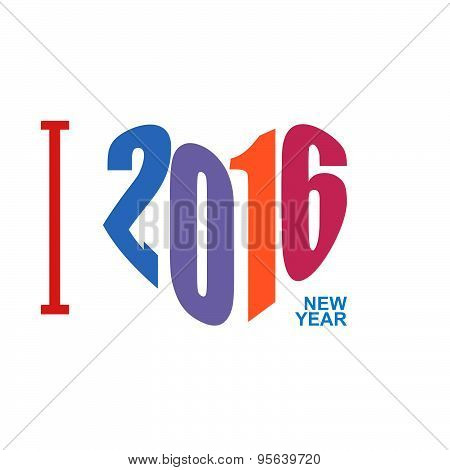 I love year 2016. Symbol heart of  digits. Logo for new year. vector illustration
